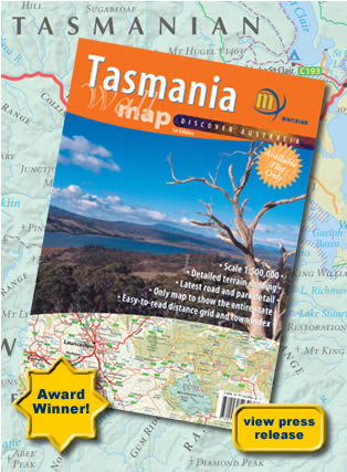 Tasmania Wall Map Meridian Folded